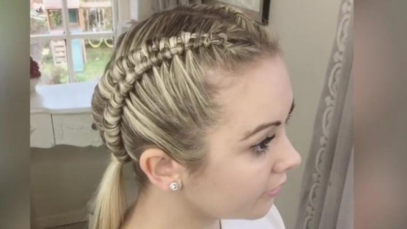 Интересное плетение для коротких волос