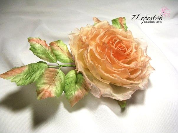 Брошь роза Пастель. Цветы из шелка. (3 фото) - картинка