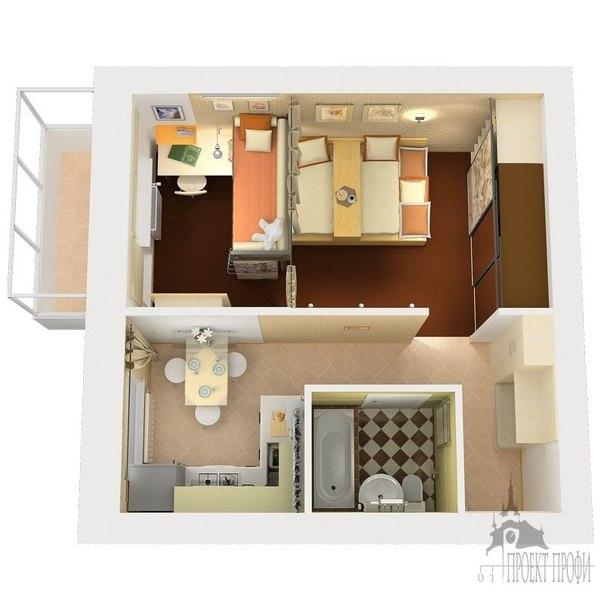 Дизайн 1-комнатной квартиры с ребенком