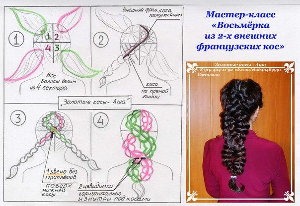 Плетение с лентами в волосах схема 155