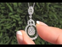 GIA Certified Diamond Cocktail Pendant Necklace 18k White Gold VS/SI F-G Color 1.20 TCW - C1065