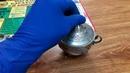 мельхиоровая горчичница с ложечкой мельхиор из ссср стекло ссср клеймо 5ЮММЕТ луганск baraholka rasp
