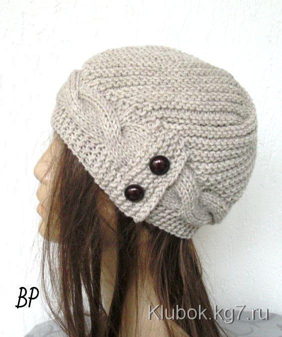 Красивая вязанная шапка с ободком