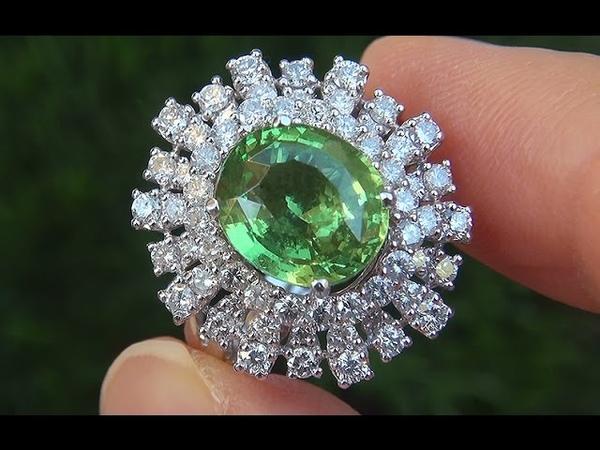 GIA Certified Estate VS1 Natural Tsavorite Garnet Diamond 18k Gold Vintage Ring - A141536