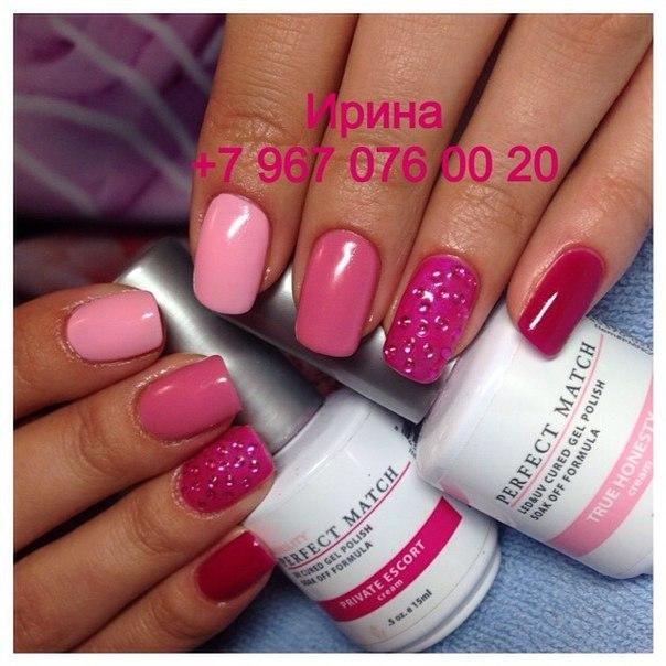 Фото шеллака на ногтях с дизайном розовый