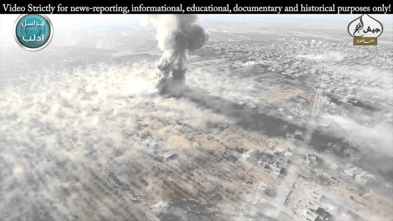 Сирия. Квадрокоптер снимает мега взрыв в городе
