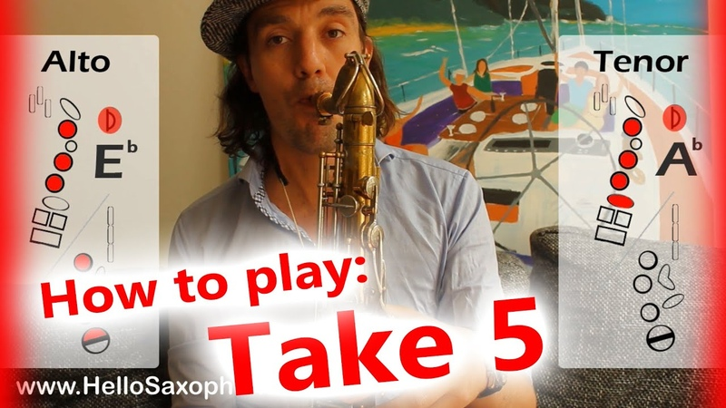 How to play Take Five on saxophone Alto and Tenor - saxophone lesson with fingercharts