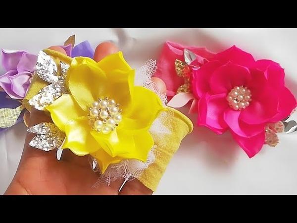 FLOR CONSENTIDA EN CINTA - Flores de listón - flores de tela