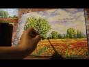 Как нарисовать ПОЭТАПНО пейзаж гуашью Рисуем маковое поле и деревья