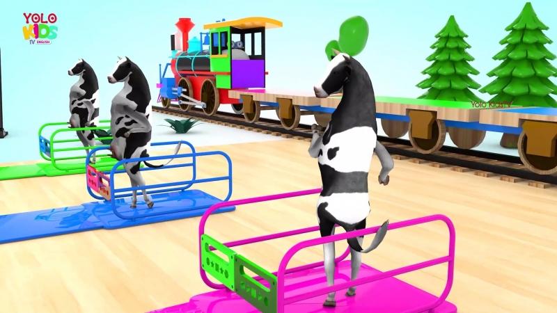 Изучите животных коровьей подиумы для детей