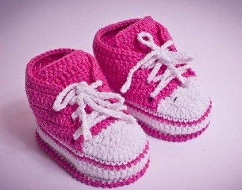 Вяжем кеды для малышей. (10 фото) - картинка