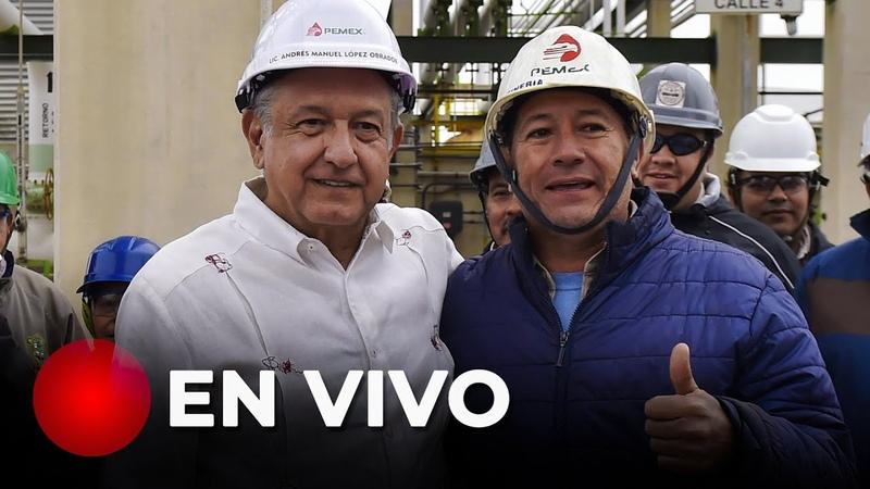 Conferencia de prensa al finalizar recorrido en refinería de Minatitlán, Veracruz.
