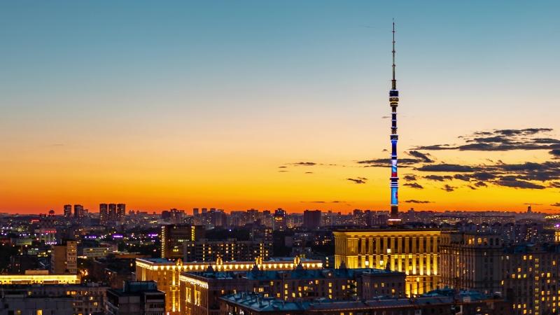 Строящийся ЖК Серебряный фонтан (проект бизнес-класса №1 в Москве) - панорамы из окон. Закат, ночь