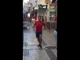 lad in Portugal runs down the streets celebrating Spanish equalising