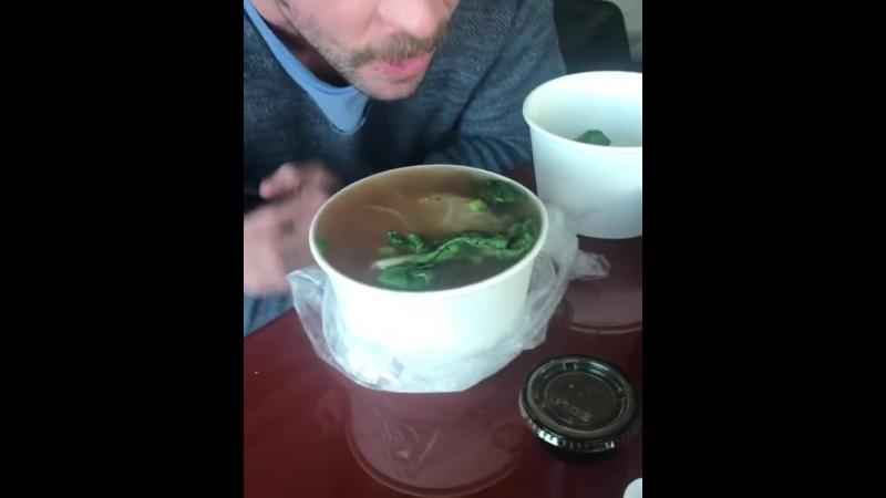 Enjoying a delicious Vietnamese Pho