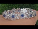 Certified Near Flawless Natural Blue Sapphire Diamond 18k White Gold Tennis Bracelet - C355