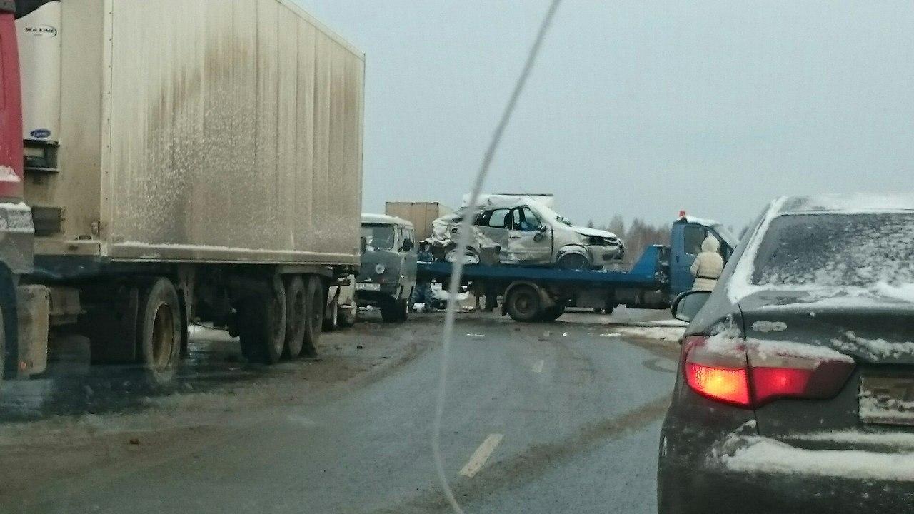 На трассе под Краснокамском произошла массовая автоавария