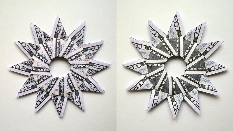 Money SUN   Modular Origami   Dollar Gift Idea   Tutorial DIY Folded (300th video!)