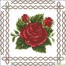 Схема вышивки крестом 'Подушка с орнаментом 'Красная роза'', скриншот.