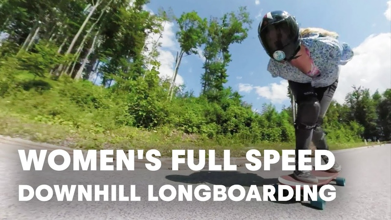 Women's Downhill Longboarding at Full Speed.  Red Bull No Paws Down