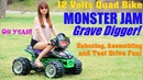 Ride-On Power Wheels Monster Jam Truck GRAVE DIGGER Unboxing, Assembling and Test Drive