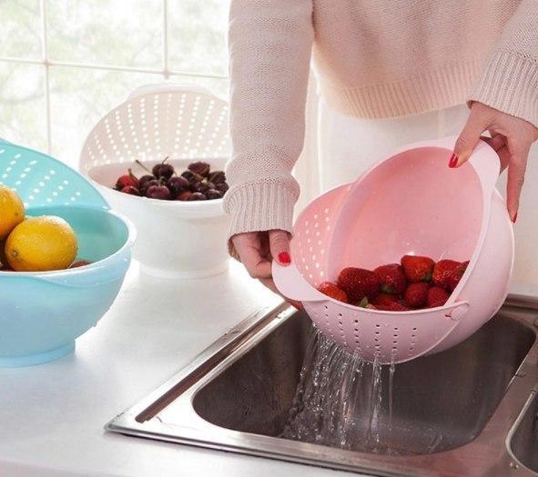 Практичная миска для мытья ягодовощей круп и тд -