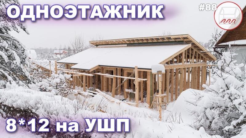 Одноэтажный дом 8*12 с двухуровневой крышей на УШП | Кухня-гостиная с 2 мансардными окнами