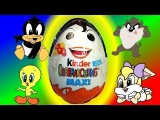 Looney tunes baby, Show from Maxi Kinder Surprise Eggs - 3 Eggs, unboxing, Animation