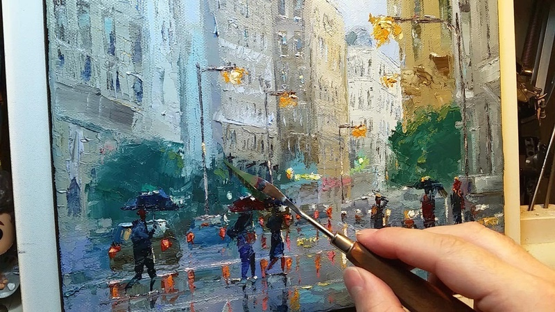 In the Rain - How to - Oil Painting - Palette Knife | Brush City Walk Wet Street Dusan