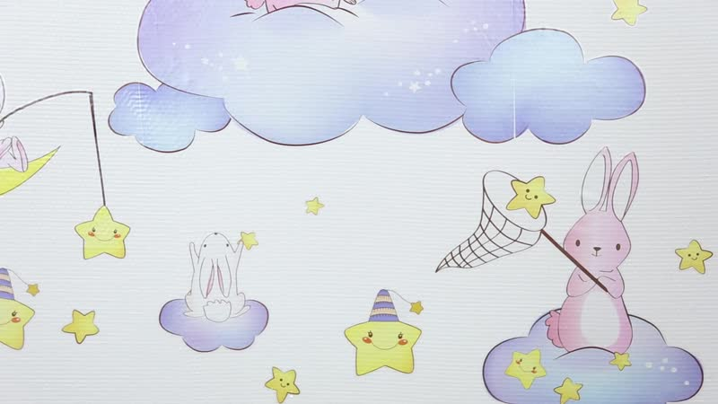 Rabbits Animals Wall Stickers DIY Cartoon Clouds Stars Moon Wall Decals for Kids Room Baby Bedroom Decoration