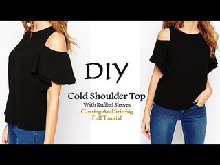 DIY Cold Shoulder Top With Ruffle Sleeves Cutting and Stitching Tutorial
