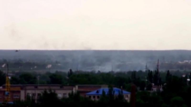 Славянск. АТО. Попадание в боевой вертолет Ми-24 из ПЗРК 03.06.2014