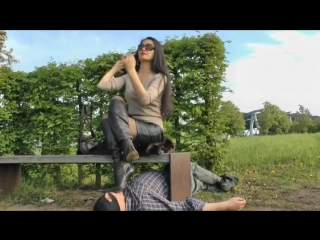Footstool worship dirty black boots outdoor