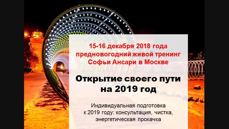 Подготовка к 2019 году. Открытие своего пути на 2019 год. Тренинг Софьи Ансари в Москве