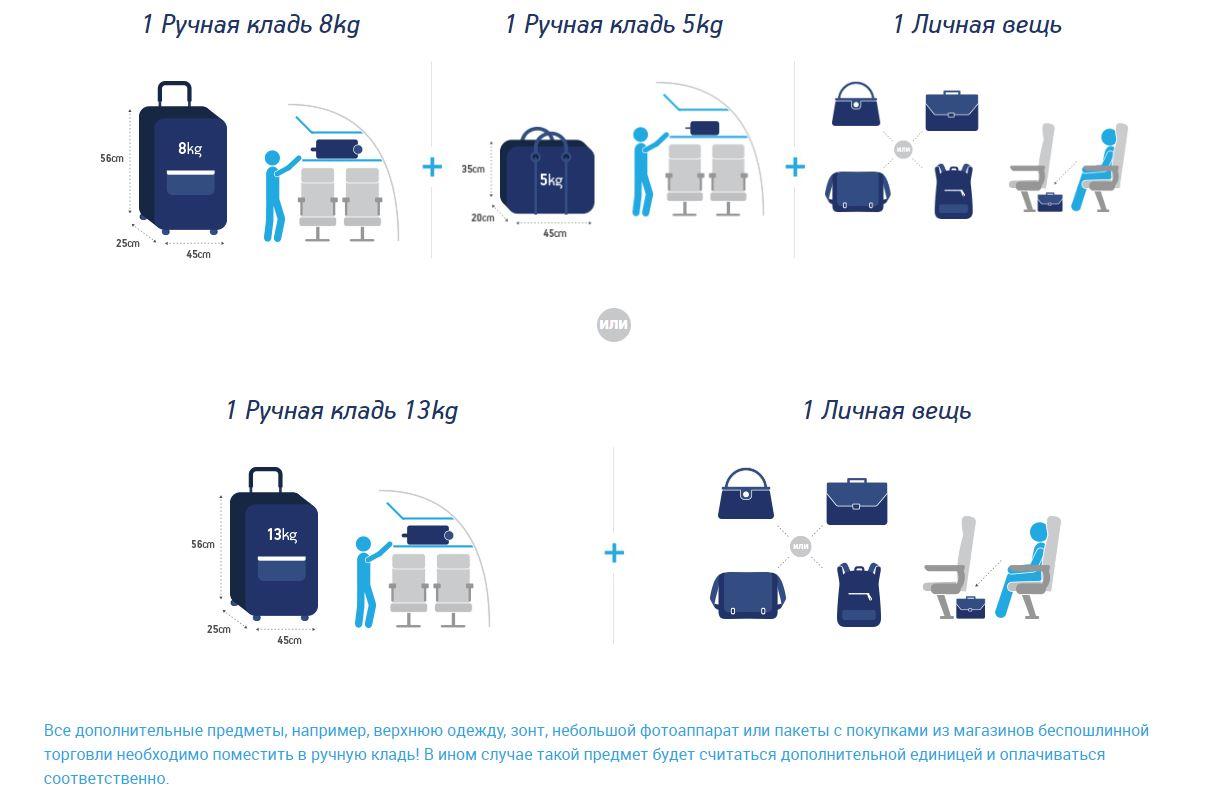 Инфографика: правила перевозки ручной клади в бизнес-классе