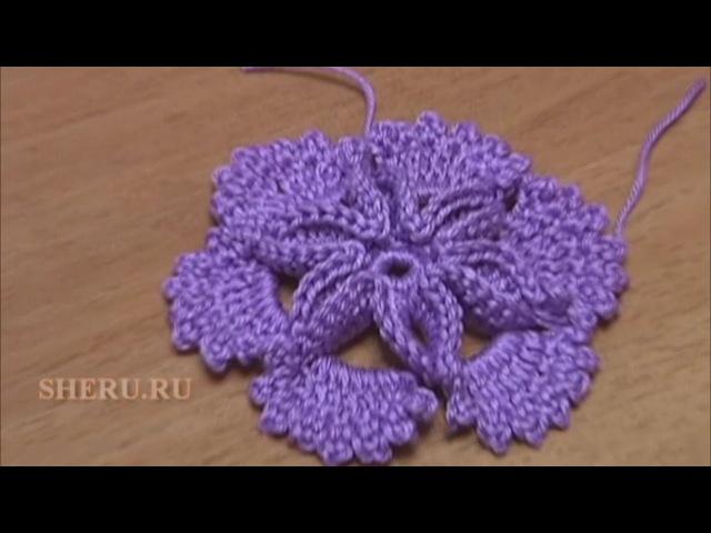 Скачать бесплатно Вязание Цветов Урок 7 Как вязать крючком Цветок с ажурными лепестками, скачать бесплатно...