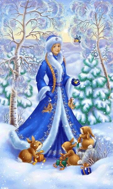 новорічна листівка із снігуркою