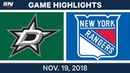 Stars at Rangers Game Highlights