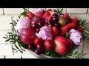 Пионы, клубника, фрукты