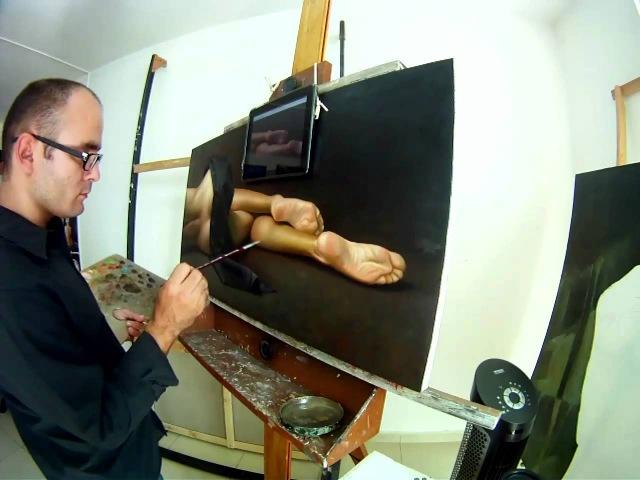 Pintando la Obra Desnudez.