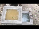 Primitive technology searching for groundwater and water filter water well and tank full