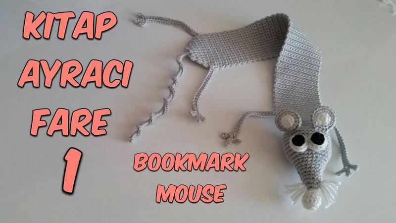 Amigurumi Örgü Kitap Ayracı Fare 1 Amigurumi Crochet Bookmark Mouse 1