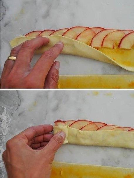 скручиваем в тесто яблоки