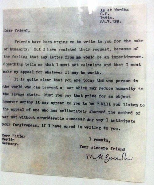 Махатма Ганди написал письмо Адольфу Гитлеру в 1939 году,