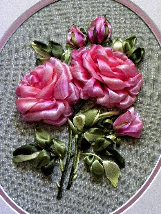 Вышивка лентами розы-мастер класс 67