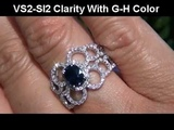 Extra Fine Ceylon Sapphire &amp VS Diamond Cocktail Rng Set In Solid 14K White Gold Must Be Sold