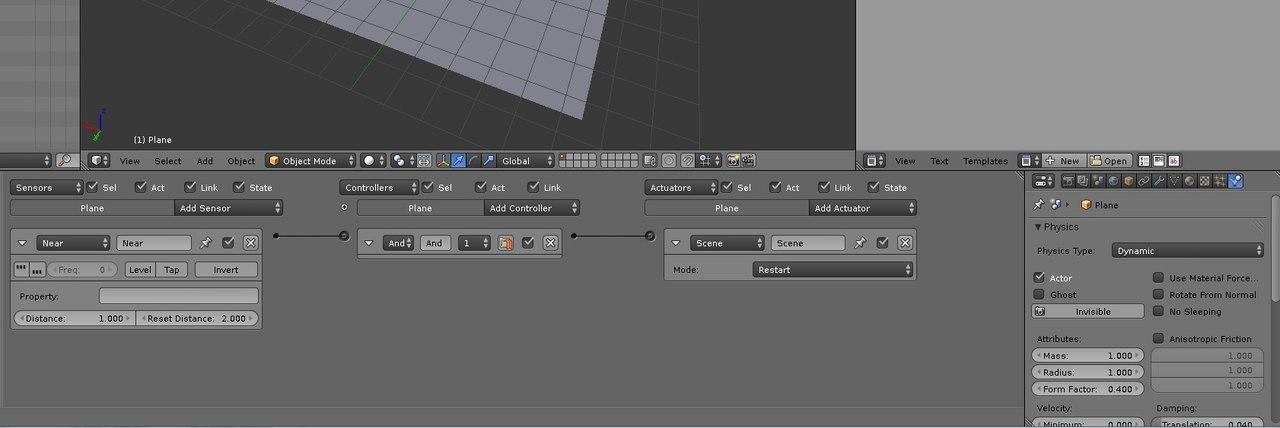 Как создать игру меньше чем за час Игра farsash Выделите контрольный объект и вот как у него всё выглядит Теперь при касании кубиком зелёной плоскости произоёдет рестарт сцены