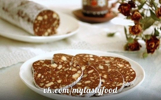 Рецепт шоколадной колбаса со сгущенкой