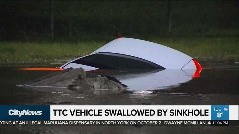 Driver shaken as TTC vehicle sinks