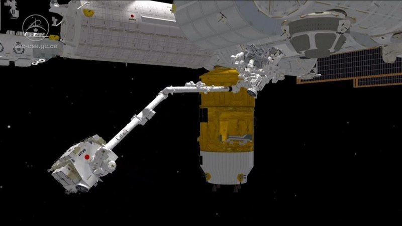 Animation of Canadarm2 catching and unloading the HTV cargo ship